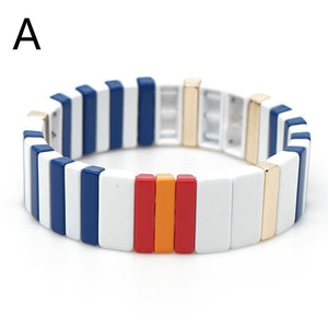 contrast color enamel tile geometric figure elastic bangle bracelet