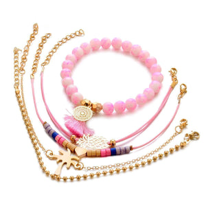 Cute Coco Heart Pineapple Woven Bracelets Set