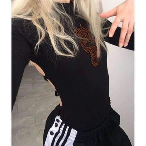 Dragon Embroidery Back Bandage Bodysuit Top