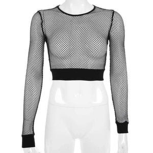 o-neck fishnet slim crop top
