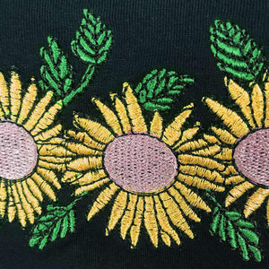 slash neck sunflower embroidery top
