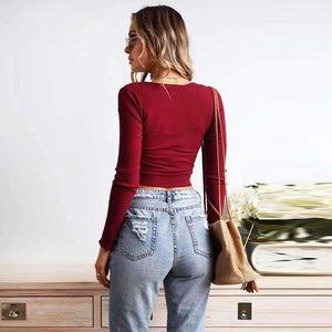 Front Pleated Long Sleeve Ribbed Crop Top