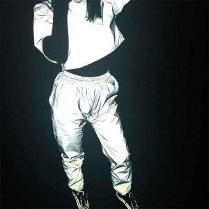 hip-hop punk light-reflecting bloomers pants