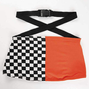 Checkerboard Patch Cross Buckle Crop Top
