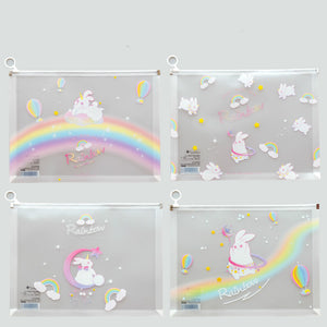 transparent  cartoon  large capacity simple plastic file case