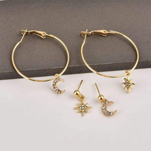 Star Moon Rhinestones Earrings Set