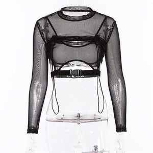 sheer mesh hollow out buckle crop top
