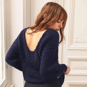 solid color hollow out backless oversized sweater