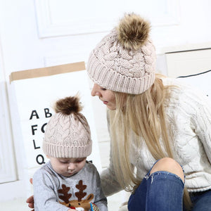 mom&baby winter warm cotton knitted raccoon fur hats beanie caps