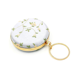 embroidered green leaf round dinner clutch