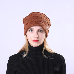 solid color knitted wool slouchy beanie hat