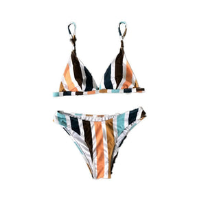 colorful vertical stripes printed bikini set
