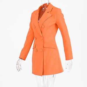bright orange turn-down collar two lines buttons long blazer coat