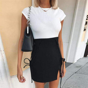 black strappy side slit slim dress