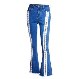 two side buckles bell-bottoms jeans