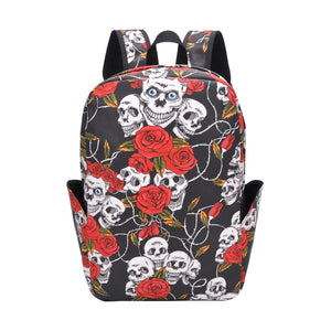 skull printed Halloween canvas backpack bag