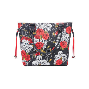 rose skull printed canvas tote bag