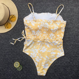 floral printed waist bandaged slim swimsuit