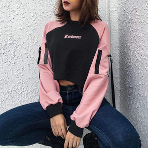 color patchwork gothic letters printed ribbon sweatshirt