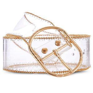 chic gold beads lines transparent belt