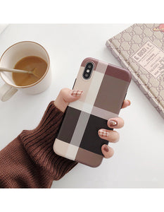 chic plaid pattern frosted soft cover phone case