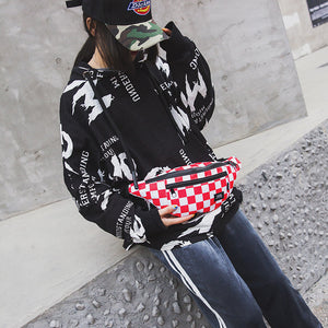 checkerboard print canvas fashion bum bag