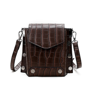 stone pattern solid color rectangle cross body bag