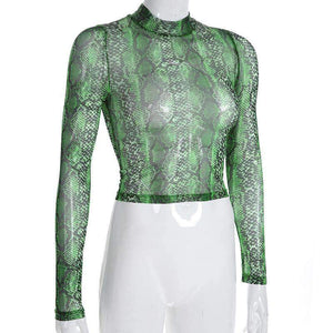 snake print sheer mesh crop top