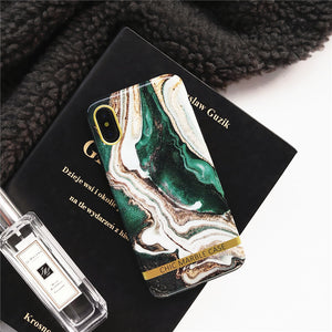 vintage emerald marble electroplated cover phone case