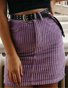 candy color corduroy high waisted slim skirt