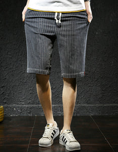 stripe pattern elastic loose shorts middle pants