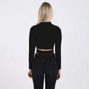 mock neck solid color hollow out slim crop top