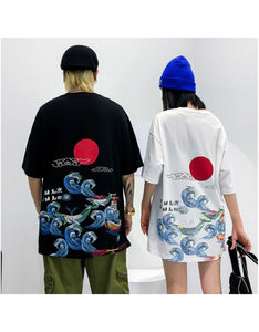 hip hop loose red sun sea wave men's t-shirt couple t-shirt