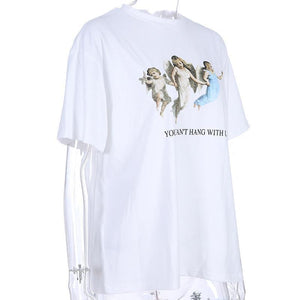 cute angels printed cotton t-shirt