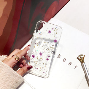 real dried flowers transparent soft cover phone case