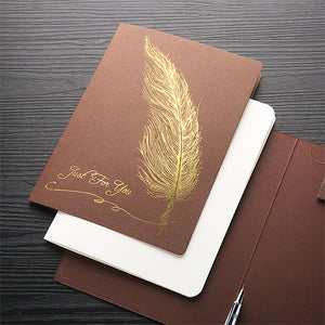 cover gold feather printed thank you card