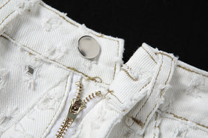 solid white full hole fashion high waisted casual Jeans