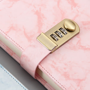 B6 marble with gold code lock imitation leather notebook