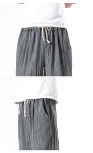 solid color linen man cropped trousers