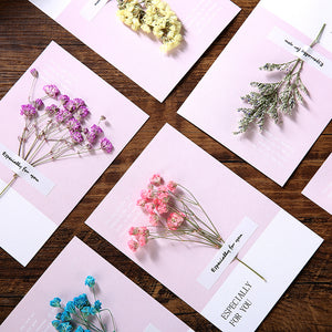 creative real flower decoration christmas card set