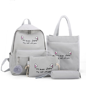 girls cute shoulder school bag set