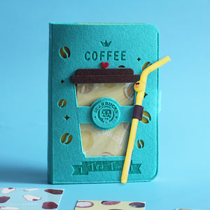 coffee cup design felt cover funny notebook