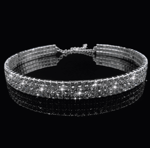 2/3/4 Lines Sparkle Diamonds Simple Narrow Choker