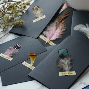 classic feather black engagement card