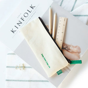 simple canvas white&green zipper pencil case