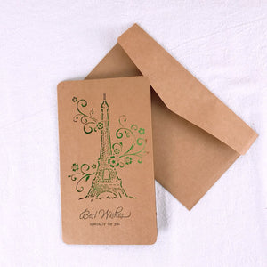 environmental brown paper hollow out design birthday card