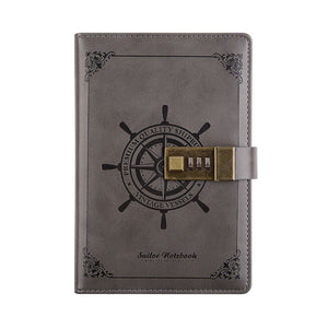 retro sailing students password leather notebook