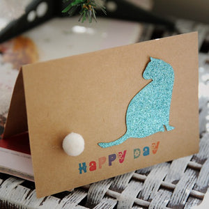 retro glitter cat wishes birthday card