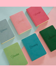 pure color mini plan leather notebook