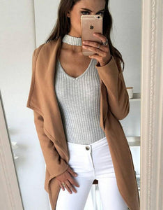 halter v neck long sleeved slim bodysuit